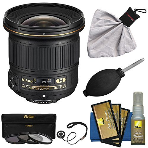 Nikon 20mm f/1.8G AF-S ED Nikkor Lens with 3 UV/CPL/ND8 Filters + Nikon Cleaning Kit for D3200,...