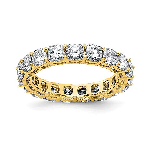 14k Yellow Gold Cushion Eternity Wedding Ring Band G H I True Moissanite Size 5.00 Style Fine Jewellery For Women Gifts For Her
