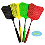 4pcs Telescopic Fly Swatters Durable Plastic Heavy Duty Flyswatter with Stainless Steel Handle 4...
