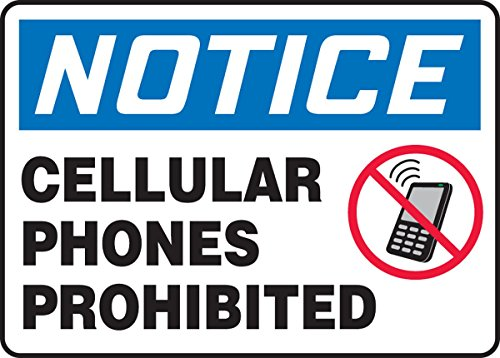 Accuform MRFQ825VP Plastic Safety Sign, Legend'NOTICE CELLULAR PHONES PROHIBITED', 10' Length x 14' Width x 0.055' Thickness, Blue/Red/Black on White