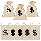 Amersumer 5 Pcs Natural Canvas Money Sign Bags, Dollar Sign Bags Money Pouch with Drawstring, Dollar Sign Sacks Drawstring Gift Bags for Bank Robber Cowboy Pirate Theme Party Favors 9 x 7 Inches