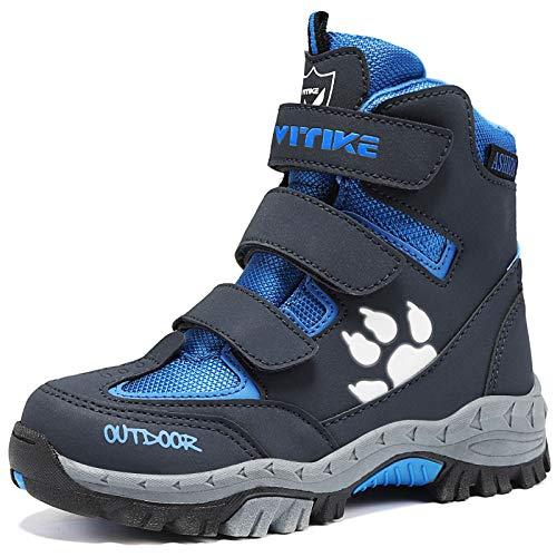 Botas de Senderismo Botas de Nieve Zapatos de Senderismo para Niños(5 Gris/Azu,26 EU)