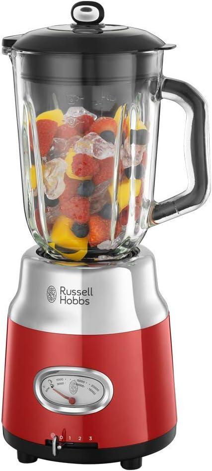 Russell Hobbs Retro 25190-56 - Batidora vaso 800 W, vaso cristal, batidora smoothies, picadora hielo, acero inoxidable, color rojo