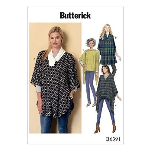 Butterick Patterns Butterick 6391ZZ Schnittmuster Poncho, Mehrfarbig, Größen lrg-XXL