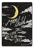 Moon Look To The Skies - Cartel de hierro con aspecto vintage de 20 x 30 cm, para decoración de pared, decoración de cocina, baño, granja, jardín, garaje