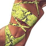 Fulltime (TM) - Bikini sexy para mujer, estampado de leopardo Amarillo amarillo L