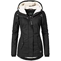 Sandinged Casual Hooded Neck Long Sleeve Zipper Closure Warm Women's Cotton Coat