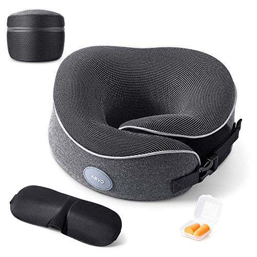 AEVO Travel Pillow, Memory Foam Neck Pillow, Comfortable & Breathable Cover, Machine Washable, Pillow with Eye Mask, Earplugs, Travel Bag, 360-Degree Head Support for Airplane, Train, Travel (Gray)