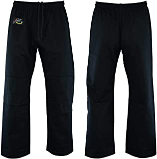 Playwell Martial Arts Judo Bleached Black Training Pants - 10oz - (Double Padded Knees)