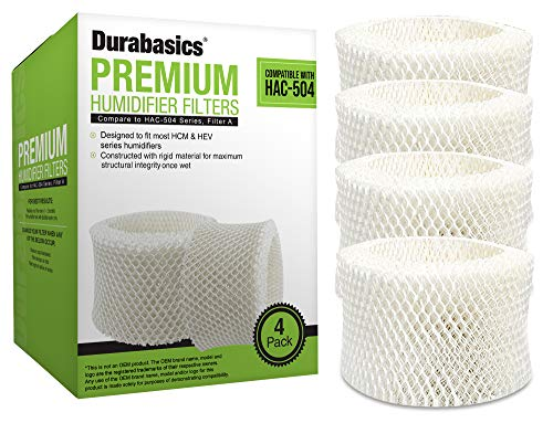 Durabasics 4 Pack of Premium Humidifier Filters Compatible with Honeywell Humidifier Filter HAC-504, HAC-504AW & Honeywell Filter A | Replacement for Honeywell Filter HCM 350 & Cool Mist Humidifiers