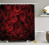 VinMea Dark Red Shower Curtain, Image of Red Roses with Drops of Water Blooming Bouquet Symbol of Love and Passion, Cloth Bathroom Decor Set with Hooks, 60 x 72 Inches Extra Long, Red Black