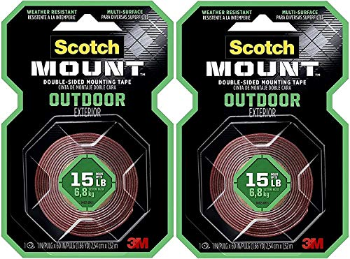 "Scotch Outdoor Mounting Tape, 1-inch x 60-inches, Holds up to 15 pounds, Gray, 1-Roll (411H) (1""x60"" 2-Pack)"