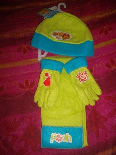 Disney -Ensemble 3 Pièces de vêtements d'hiver Winnie The Pooh/Winnie L'ourson, bonnet, gants et écharppe Turquois & Anis pour enfants Taille 54, 100% Polyester