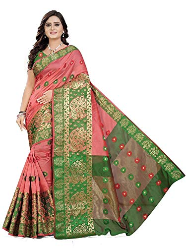 AMAR CREATION Women's Banarasi Silk Blend Saree With Blouse Piece