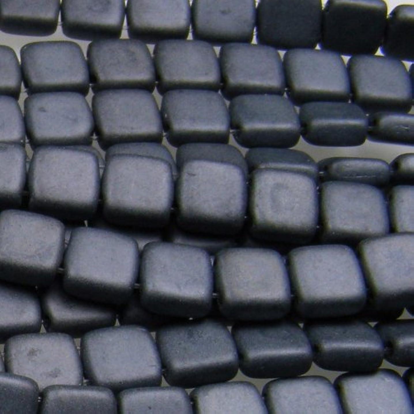 Czechmate 6mm Square Glass Czech Two Hole Tile Bead - Matte Hematite