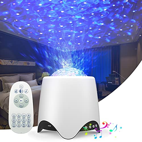 WGSS Decorative Projector Light LED Star Galaxy Christmas Decorations Kids lamp Stage Lights Nebula Cloud with 16 Music/Sounds,Bluetooth Speaker,Nursery/Yoga/Sleeping/Party/Night Light Ambiance