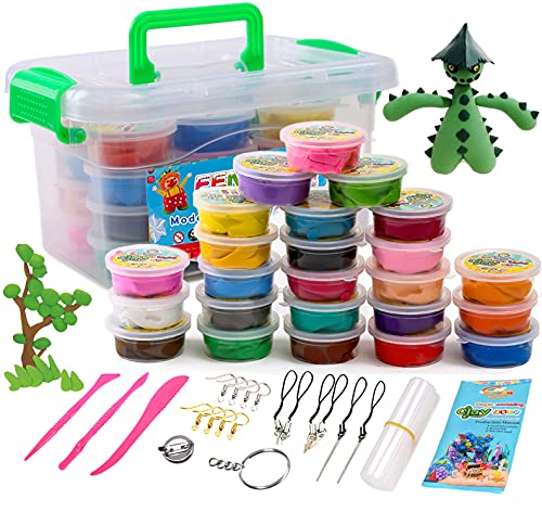 Magic Air Dry Clay Kit for Kids Soft 24 Colors Ultra Light Modeling Clay Dough Art Craft Set with Accessory for School Boys Girls