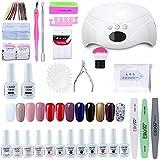 Elite99 Lámpara UV LED para Uñas 24w, 12 Colores Kit de Esmaltes Semipermanentes en Gel UV LED, Base y Top Coat, Removedor de Uñas 001