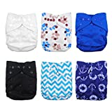 Babygoal Cloth Diaper Covers,Baby Adjustable Reusable Clothes Covers for Fitted Diapers and Prefolds, 6pcs Covers+One Wet Bag