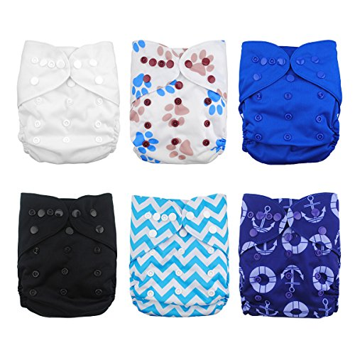 Babygoal Cloth Diaper Covers for Fitted Diapers and Prefolds with Double Gusset,Adjustable Reusable...