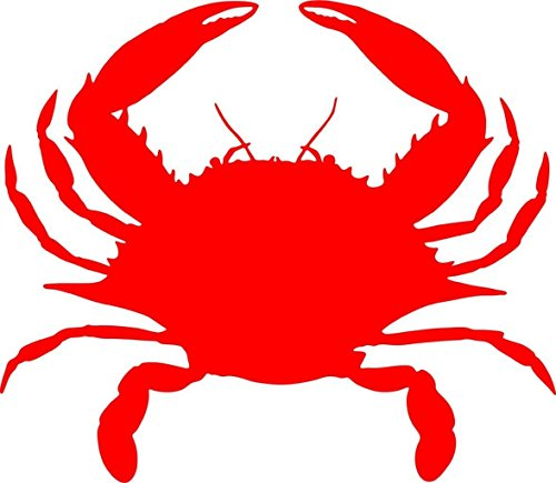 """Crab Picture Art - Children's Animal Picture Art - Peel & Stick Vinyl Wall Decal Sticker Crabs Seafood Claws Crawler Cockroach of The Sea Red Ocean Sea Water Decal Decals Sticker Size=10""""X10"""""""
