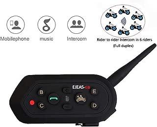 EJEAS-E6 BT Bluetooth Intercom 1300m 6 Riders Full Duplex Talk Waterproof Wireless Motorcycle Helmet Interphone Headset with Walkie-Talkie Sports Skiing Climbing (1 Pack)