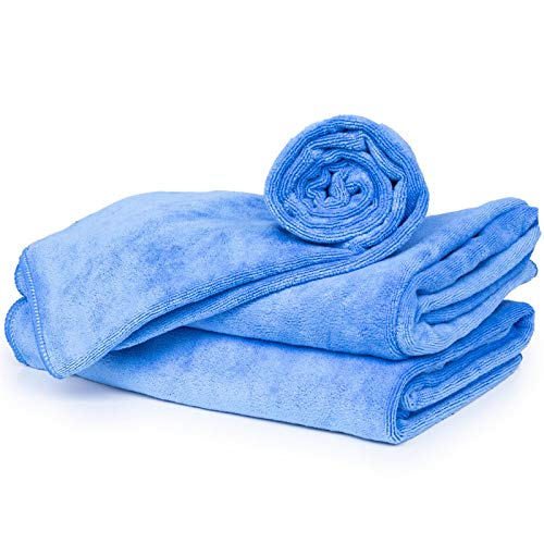 cosey - 3er Pack, Flauschiges Mikrofaser-Handtuch Größe L, 60x120cm, blau