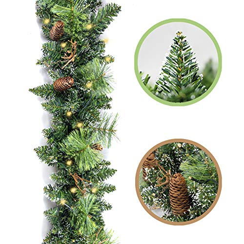HomeKaren Christmas Garland Prelit 9 Ft Battery Operated with 50 Led Lights, Pine Cone and Snow Style Xmas Garland, Christmas Decor Indoor Outdoor