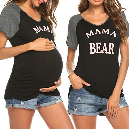 Ekouaer Womens Pregnancy T-Shirts Mama Bear Ruch Sides Maternity Shirt Nursing Tops Mother Clothes Plus Size Black XXL