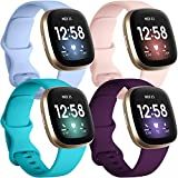 Getino 4 Pack Bands Compatible with Fitbit Sense and Fitbit Versa 3, Soft Waterproof and Durable Silicone Sport Strap, Adjustable Replacement Wristbands for Women Men, Large Plum/Teal/Lilac/Pink
