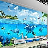 HGFHGD 青い海イルカ水中世界3D壁画子供部屋リビングルーム寝室の装飾防水壁画壁紙ウォールステッカー