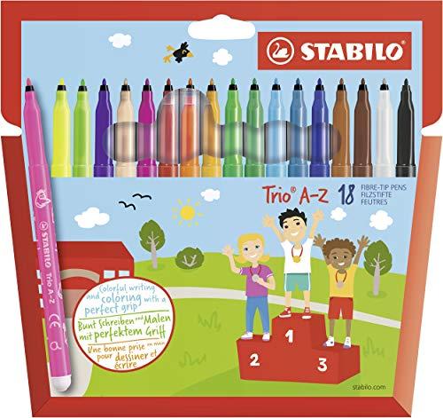 STABILO Trio A-Z Pennarelli colori assortiti - Confezione da 18