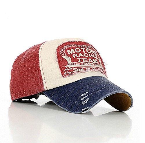 Sun Hat Gorra de Estilo Retro, de Tipo Snapback, Aspecto gastado, Color Rojo