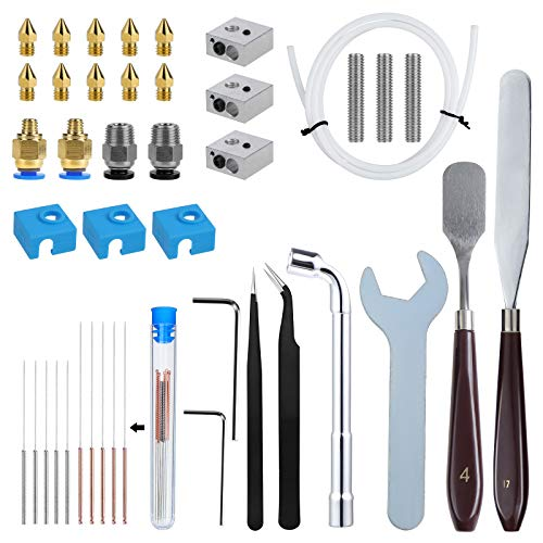 WiMas 46PCS 3D Printer Nozzle Cleaning Kit, Inlcuding 10PCS Nozzle, 3PCS Heater Block, 3PCS Throat Tube, 3PCS MK8 Silicone Cover, 14PCS Cleaning Needle and Other Parts for MK8 3D Printer