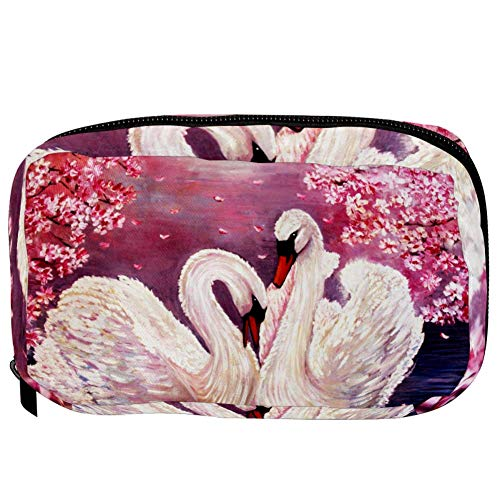 TIZORAX Cosmetic Bags Swan And Pink Flowers Handy Toiletry Travel Bag Organizer Makeup Pouch for Women Girls