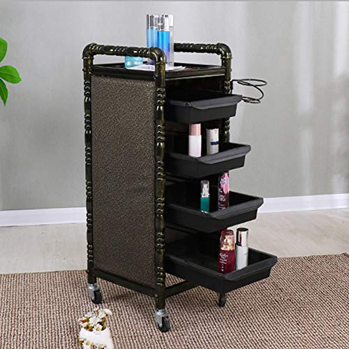 LiFDTC Retro Salon Trolley Haar Barber Shop Hot Dyeing Beauty Multifunctionele Mobiele Kinderwagen Mobiele Rack Kappers Tool Winkel met 4 Goud Laden