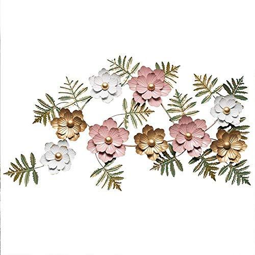 JIAJBG Ilustraciones Pared Del Metal Arte de la Pared, Tres de Color de Flores Y Verde Hoja Decoración de la Pared de Interior Y Al Aire Libre Jardín Colgar de la Pared Adornos 145X