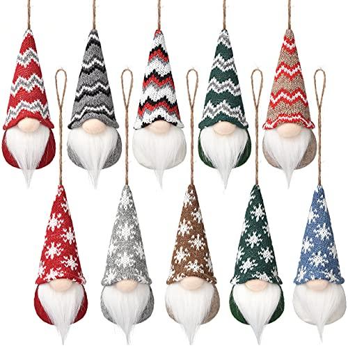 10 Pcs Christmas Tree Handmade Hanging Gnomes Ornaments , Swedish Plush Gnome Scandinavian Santa Elf Hanging Home Decorations Christmas Holiday Decor