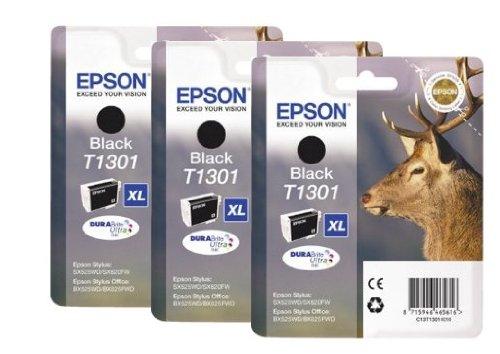 Epson T1301 x3 3x Tintenpatronen Original, schwarz