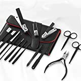 zunruishop Cuidado de la pedicura 15 unids Pedicura de Acero Inoxidable Pedicura Profesional Clipper Clipper Set Cuticle Eagle Hook Tweeer Manicure Herramientas de Belleza Kit Bag Instrumentos