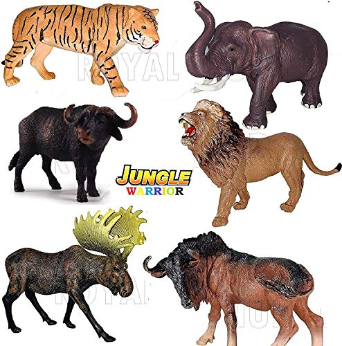 Galaxy Hi-Tech® 6pc Large Size Wildlife Original Look Wild Animal with Detailing , Children Puzzle Early Education Gift Mini Jungle Animal Toy Set Realistic Animal Figures Toys for Kids