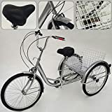 "OUKANING Road Bike Adult Tricycle 24"" 3-Wheel Bicycle 6-Speed Elderly Trike Cargo Cruiser"