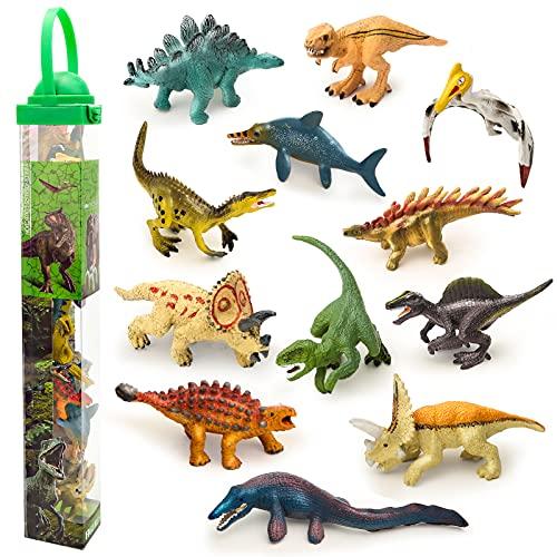 Vanplay Mini Dinosaurier Spielzeug Tortenaufleger Dinosaurier Party Dekoration Dinosaurier Figuren Set für Kinder 12 Stück