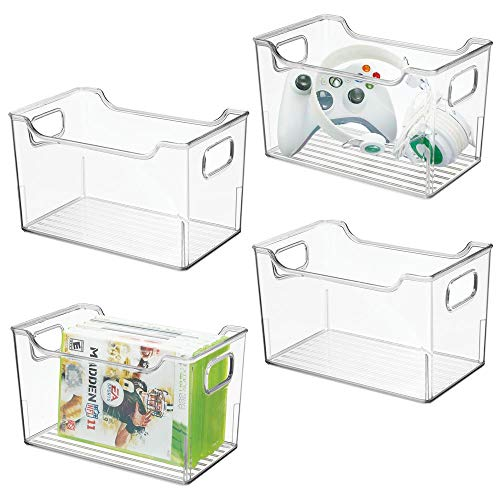 mDesign Juego de 4 cajas organizadoras de plástico – Caja con asas multiusos – Versátil organizador de cocina, baño, armario u oficina – transparente