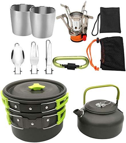 Juego utensilios cocina al aire libre, 1 conjunto de aleación de aluminio Camping Utensilios de cocina Utensilio al aire libre Camping Utensilios de cocina Conjunto de utensilios de cocción al aire li