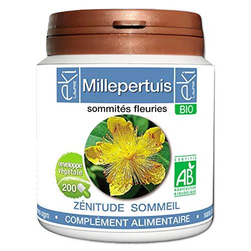 Millepertuis BIO | 200 gélules | Zénitude Stress Sommeil | 250 mg dosage 100% naturel sans additif et non comprimé | EKI LIBRE