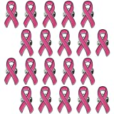 sticro 20 Pack Pink Ribbon Pin Breast Cancer Awareness Enamel Lapel Pins for Fundraiser, Marathon, Volunteer- Dark Pink