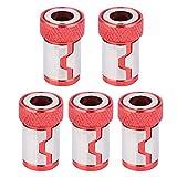 5Pcs Destornillador Anillo Magnético Antideslizante Accesorios de Aleación de Aluminio Para 1/4 Destornillador Bits Para Herramienta Eléctrica de Tornillo de Mano(Rojo)