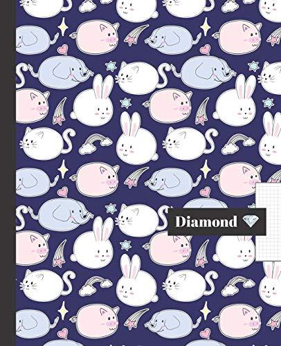 CUADERNO ESCOLAR: Precioso cuaderno de hoja cuadriculada 4 milímetros   Tamaño especial para la mochila o cartera del colegio   120 páginas de Papel ... diseño de elefantes, perritos y cerditos.