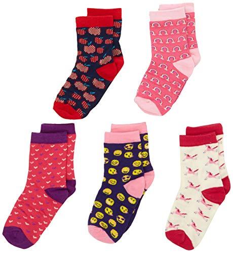 Hatley Mädchen 5 Pack Crew Tin Sets Socken, Rosa (Magical Unicorns), Large